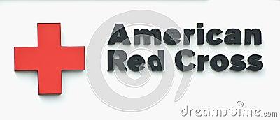 Signe américain de Croix-Rouge Image éditorial