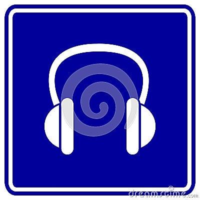 Signe de bleu d écouteurs de vecteur