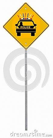 Signe de route de police