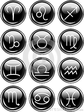 Signes brillants d horoscope de zodiaque de boutons