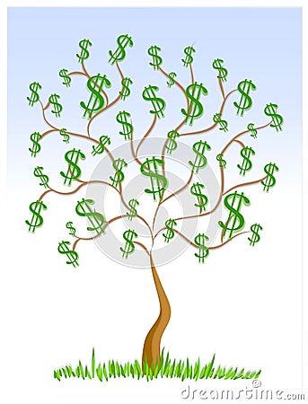 Signes-du-dollar-d-argent-comptant-d-arbre-d-argent-thumb2158605