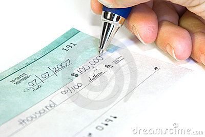 Signing the check