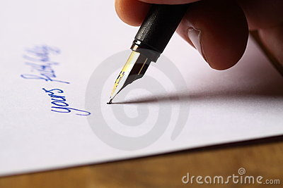 Signing a letter