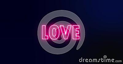 Signo animado de amor neón rosado almacen de video