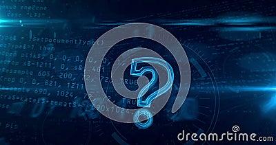 Signo de interrogación en el lazo cibernético 4K del fondo