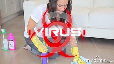 Signo de peligro de Word Virus sobre salud y suelo de limpieza femenino en segundo plano almacen de video