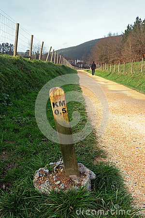 Signpost with distance