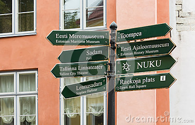 Signpost with a Group of Signs in the Historic Center of Tallinn