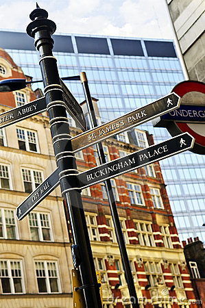 Signpost in London Editorial Stock Photo