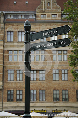 Signpost in Malmo, Sweden