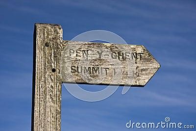 Signpost Pen y Ghent Hill