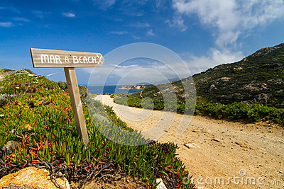 Signpost pointing to the beach at La Revellata in Corsica