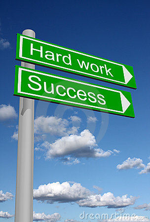 Signpost for success and hard work
