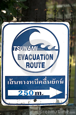 Signpost of a tsunami shelter