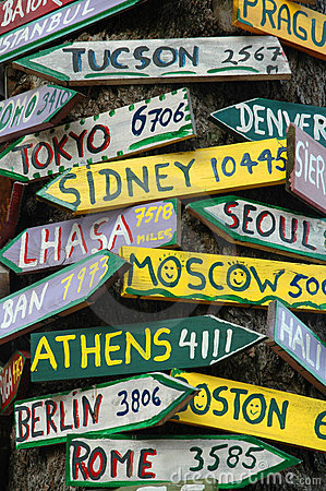 Signposts To The World Royalty Free Stock Image - Image: 1589096