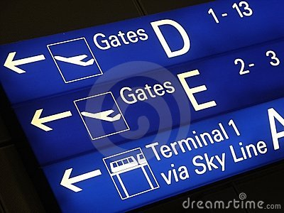 Signs in airport