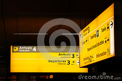 Signs at Airport Stock Photo