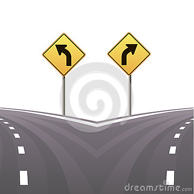 Signs and asphalted road.Vector illustration