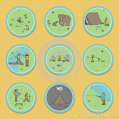 Signs about the camping theme. Vector Illustration