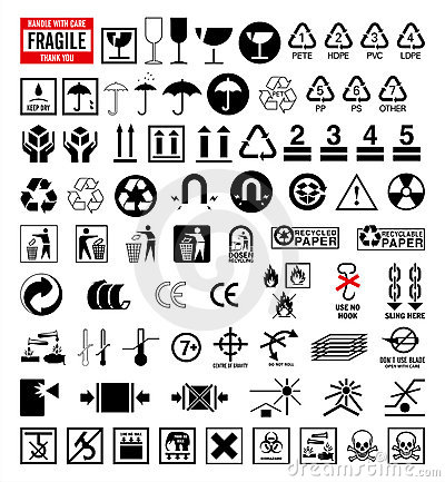 Signs collection 6 - Packing and shipping symbols