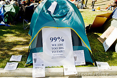 Signs Posted On Participant s Tent At Occupy LA Editorial Stock Photo