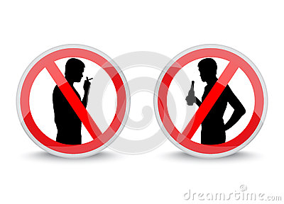 Signs prohibiting smoking and drinking alcohol