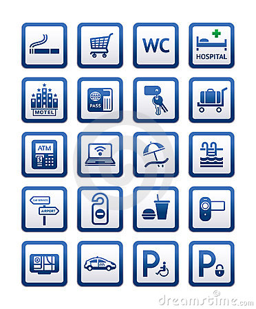 Free Signs Set Hotel Services. Symbols Motel Services. Royalty Free Stock Images - 20408119