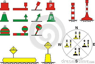 Signs traffic river navigation