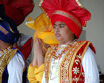 Sikh Boys in Traditional Costumes Editorial Stock Photo