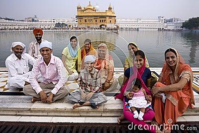 Sikh family - Golden Temple - Amritsar - India Editorial Stock Photo