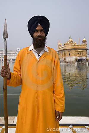 Sikh Guard - Golden Temple - Amritsar - India Editorial Stock Image