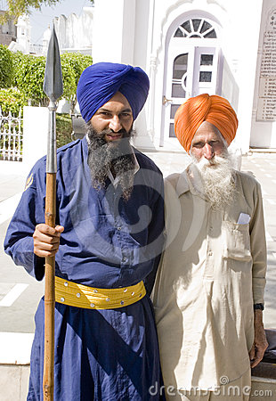 A Sikh warrior with an elderly man Editorial Stock Image