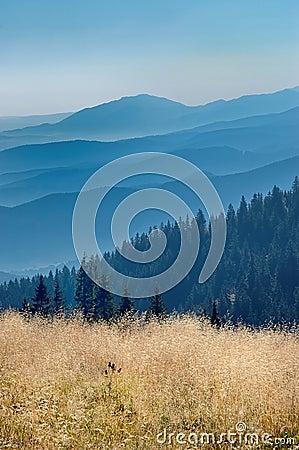 Sikt av de slovakiska bergen