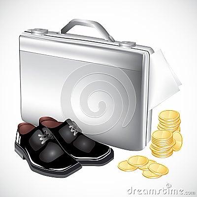 Silberner Aktenkoffer mit Stiefeln und Münzen