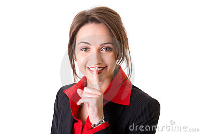 Silence gesture made by young attractive woman