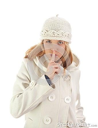 Silent girl in winter coat