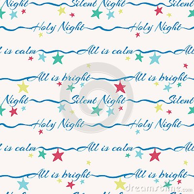 Silent night holy night lettering vector seamless pattern with colorful stars. Surface pattern design for Christmas Vector Illustration