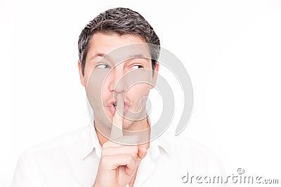 Silent whisper man