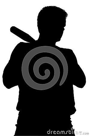 Silhouet met het Knippen van Weg van de Mens met de Knuppel van het Honkbal