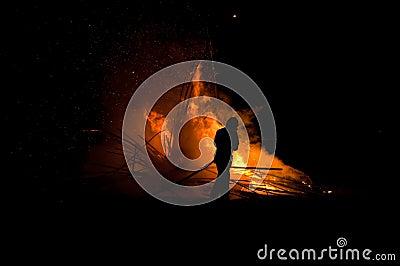 Silhouet van brandweerman