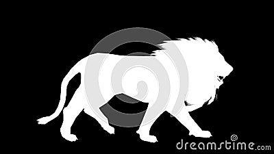 Silhouet van een bewegende leeuw Alpha Channel Alpha- steen FullHD stock videobeelden