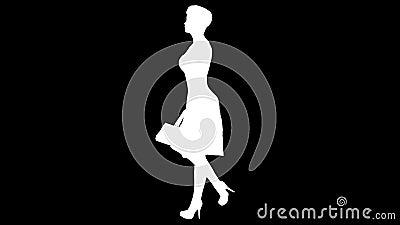 Silhouet van een lopend meisje met een handtas Alpha Channel Alpha- steen FullHD stock video