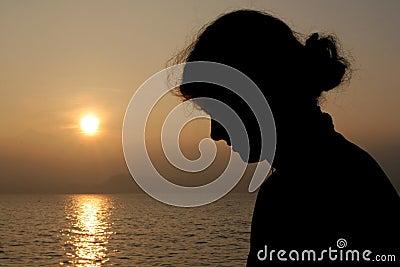 Silhouet van een meisje