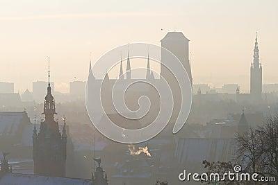 Silhouet van oude stad in Gdansk