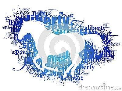 Silhouet van paard met woorden