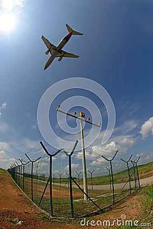 A silhouette of an aeroplane
