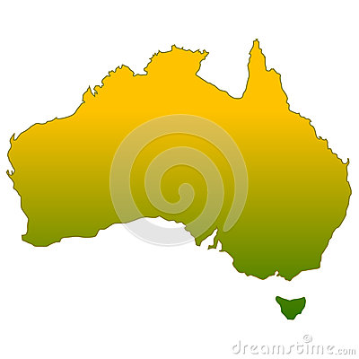 Silhouette of Australia in Green and Gold