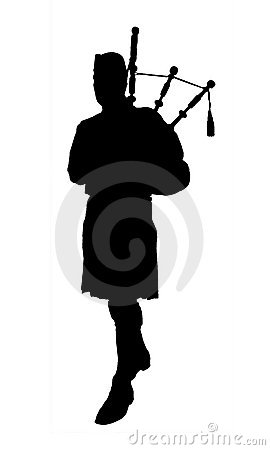 Silhouette of bagpiper