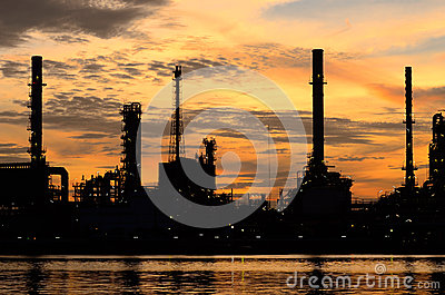Silhouette of Bangkok Oil Refinery