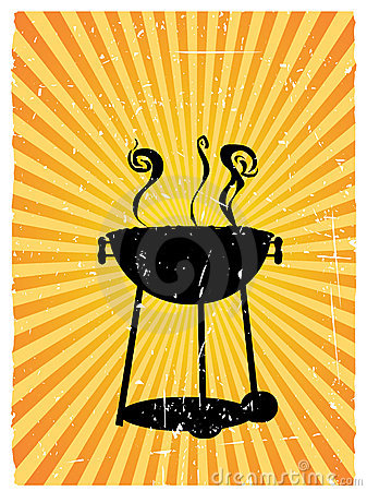 Silhouette bbq sunny rays accented grunge